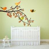 Adesivo Murale ramo uccelli