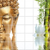 Adesivo per piastrelle Buddha bambù