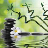 Adesivo per piastrelle fiore ciottoli