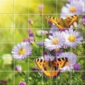 Adesivo per piastrelle fiori farfalle