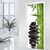 Adesivo per porte - bambù ciottoli