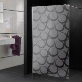 Adesivo sabbiato per box doccia cerchio design