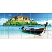 Autocolante Azulejo barco mar