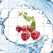 Autocolante Azulejo cerejas