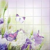 Autocolante Azulejo flores Borboletas