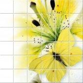 Autocolante Azulejo flores com borboleta