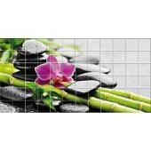 Autocolante Azulejo flores com seixos