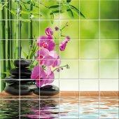 Autocolante Azulejo flores seixos