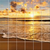 Autocolante Azulejo pôr do sol
