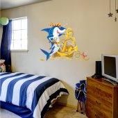Autocolante decorativo infantil tubarão