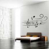 Autocolante decorativo pauta musical