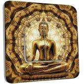 Interrupteur Décoré double va et vient Bouddha Or 2