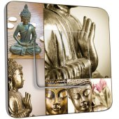 Interrupteur Décoré double va et vient  Bouddha Zen