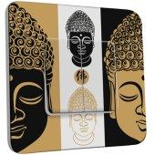 Interrupteur Décoré Double va et vient Bouddha Zen Black&Gold 1