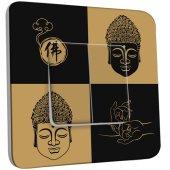 Interrupteur Décoré Double va et vient Bouddha Zen Black&Gold