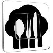Interrupteur Décoré Double va et vient Cuisine Couverts Black&White