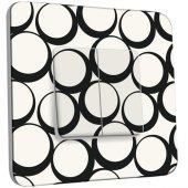 Interrupteur Décoré Double va et vient  Design Ronds Black&White