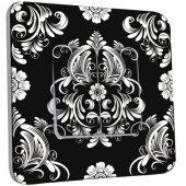 Interrupteur Décoré Double va et vient  Fleurs Abstrait Black&White 1