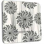 Interrupteur Décoré Double va et vient  Fleurs design Black&White 1