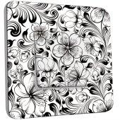 Interrupteur Décoré Double va et vient Fleurs design Black&White