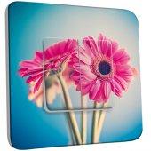 Interrupteur Décoré Double va et vient Fleurs roses Fond bleu 2