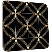 Interrupteur Décoré Double va et vient Motif Oriental Black&Gold