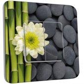Interrupteur Décoré Double va et vient Nature-Pierres,Bambou Fleur 4