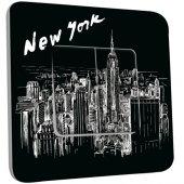 Interrupteur Décoré Double va et vient New York Black&White 1