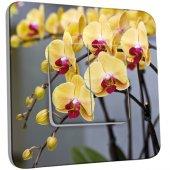 Interrupteur Décoré double va et vient  Orchidée jaune