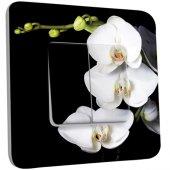 Interrupteur Décoré Double va et vient  Orchidées Fond Noir