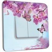 Interrupteur Décoré double va et vient Papillon Orchidée 2