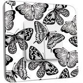 Interrupteur Décoré Double va et vient Papillons Black&White 3