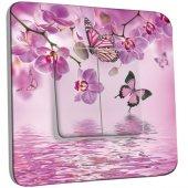 Interrupteur Décoré double va et vient Papillons Orchidées 10