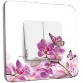Interrupteur Décoré double va et vient Papillons Orchidées 11