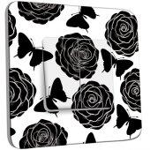 Interrupteur Décoré Double va et vient Roses design Black&White
