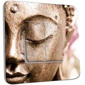 Interrupteur Décoré double va et vient Tête de Bouddha Zoom Or