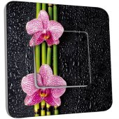 Interrupteur Décoré Poussoir Bambou orchidée