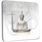 Interrupteur Décoré Poussoir Bouddha Zen Blanc