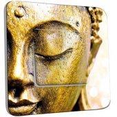 Interrupteur Décoré Poussoir Bouddha Zoom Or 3