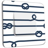 Interrupteur Décoré Poussoir Cordes Marrines Blanc/Bleu