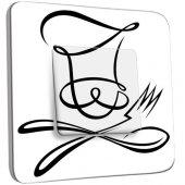 Interrupteur Décoré Poussoir Cuisine Couverts Black&White Design
