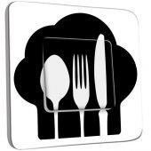 Interrupteur Décoré Poussoir Cuisine Couverts Black&White