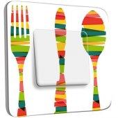 Interrupteur Décoré Poussoir Cuisine Couverts Multicolorés