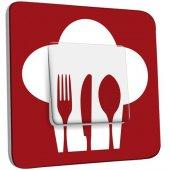 Interrupteur Décoré Poussoir Cuisine Couverts Red&White
