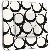 Interrupteur Décoré Poussoir Design Ronds Black&White