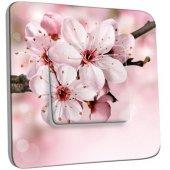 Interrupteur Décoré Poussoir Fleur de cerisier Zoom