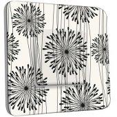 Interrupteur Décoré Poussoir Fleurs design Black&White 1