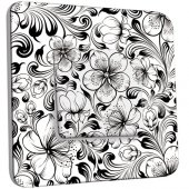 Interrupteur Décoré Poussoir Fleurs design Black&White
