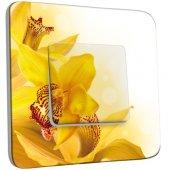 Interrupteur Décoré Poussoir Fleurs jaunes Zoom 2