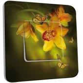 Interrupteur Décoré Poussoir Fleurs,Papillons Jaunes 3